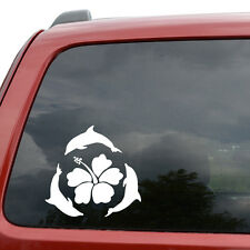 "Swimming Dolphins Hawaii Car Window Decor Vinyl Decal Sticker- 6"" Wide White"