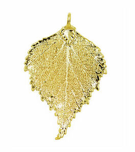 Zhannel Real Leaf PENDANT BIRCH Dipped in 24K Yellow Gold Genuine Leaf New