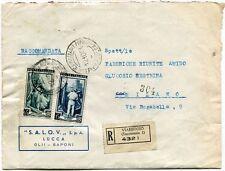 1951 Italia al Lavoro RACCOMANDATA S.A.L.O.V. SpA Olii Saponi Lucca - Viareggio