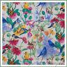 BonEful Fabric FQ Cotton Quilt Pink Blue Jay BIRD Green Leaf Butterfly SunFlower