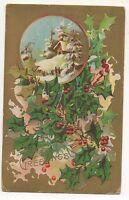 """Xmas Greetings"" Snow Scene, Holly Vintage Christmas Postcard"