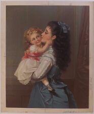 Chromolithographie Femme Robe Coiffure Mode Enfant XIXème Siècle Testu Massin