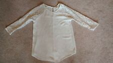 Womens S One Clothing white lace 3/4 lace sleeve shirt top blouse V7087-WL78