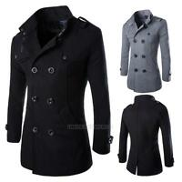 Fashion Men's 50% Wool Trench Coat Winter Long Jacket Double Breasted Overcoats