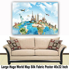 """Poster World Map Large Huge Giant Wall Print Silk Fabric Decor 46""""x32"""" Inch T10"""