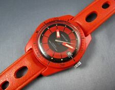 Rare Vintage Westclox Swiss RED Diver Style Mens Rally Band Date Watch 17J 1960s