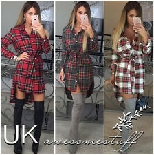 UK Womens Check Shirt Mini Dress Ladies Long Sleeve Plaid Romper Dress Size 6-14