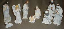 9 Piece White Porcelain Nativity Set With Gold Trim