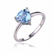 1.5ct Gorgeous Genuine Sky Blue Topaz TrillionSolid Sterling Silver Ring Size 7