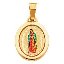 14K Yellow Gold Enamel Virgin Mary Religious Milagrosa Miraculous Pendant Charm