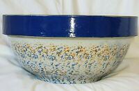 Antique Spongeware Large Mixing Bowl with Colbalt Collar