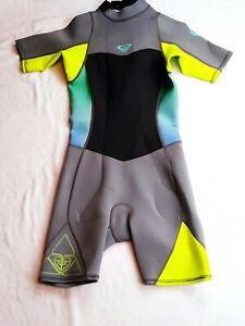 Women's Size 8 Roxy Green Ombre Syncro F Lock 2:2 Short Wetsuit S/S  Neoprene