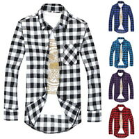Fashion Men's Casual Shirts Plaid All-Match Long-Sleeved Slim Fit Shirts Tops IL