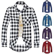 1X Fashion Mens' Casual Shirts Plaid All-Match Long-Sleeved Slim Fit Shirts Tops
