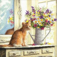 Counted Cross Stitch Kit KITTEN IN THE WINDOW Cat Dimensions Gold Collection New