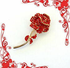 LONG STEM RED ROSE BROOCH PIN~VALENTINES MOTHERS DAY BIRTHDAY GIFT FOR HER WOMEN