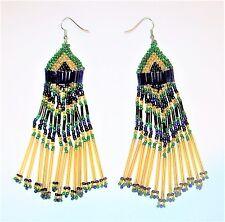 "Big Peacock Bird Feather Earrings 4.75"" Blue Green Seed Bugle Bead Fringe Tassel"