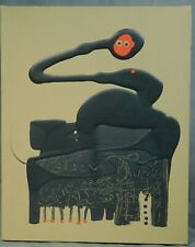 Vintage Mid-Century BioMorphic Abstract Painting Canvas ala MIRO Black Red DRIP