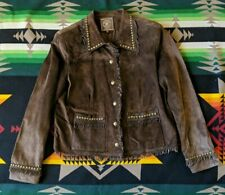 Double D Ranch Brown Suede Leather Jacket Coat Studs Fringe Size S Ranchwear