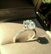 Rings14K White Gold Wedding Rings Certified 2.00 Ct Round Moissanite Engagement