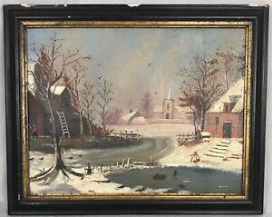Antique American Folk Art Primitive Painting of Winter Scene 19th Century