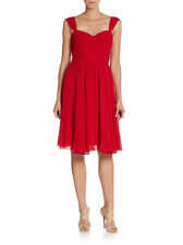 Vera Wang Women's Red Fit-And-Flare Sweetheart Cocktail Dress Size 14