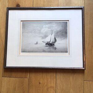 Maarten Langbroek (1918-1985) Pencil Signed Maritime Boating Etching Print