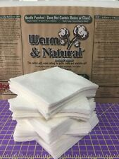 "7""-12"" (50) PreCut Squares Warm & Natural Cotton Batting-Bowl Cozy-Rag Quilts"