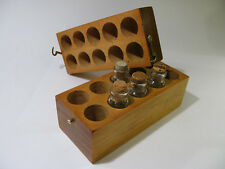 New listing Antique Solid Pine Laboratory Bottle Carrier Kit with Brass Hardware.