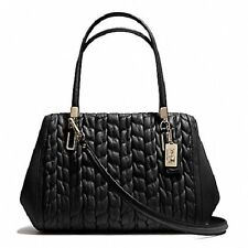 NWT COACH Madison Gathered Chevron Leather Madeline Satchel 25982 Black $458