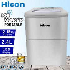 HICON Auto Ice Cube Maker 2.4L Benchtop Portable Freezer Machine Fast 12KG/Day