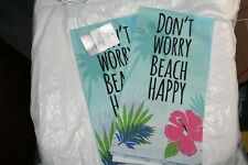 2 Dont Worry Beach Happy Flour Sack Towel Mainstays Blue Floral