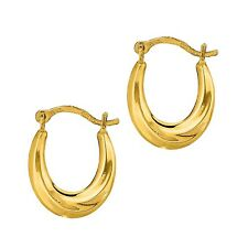 10K Yellow Gold Tubular Baby Shrimp Hoop Earring 15mm Small Hoops