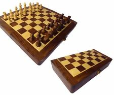 "Wooden Folding Chess Board Box (Sheesham Wood)""6x6"" And Coins & Box,Gift item"