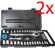"SET OF 2 40PC SOCKET SET 1/4"" & 3/8"" TORX RATCHET COMPLETE TOOL KIT CASE DIY NEW"