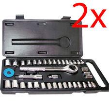 """Conjunto de 2 40PC Socket Set 1/4"""" y 3/8"""" Torx Trinquete Completa KIT DE HERRAMIENTAS ESTUCHE hágalo usted mismo Nuevo"""