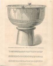 Fond Baptismaux de l'Eglise Saint-Jean de Thorn Pays-Bas Nederland GRAVURE 1868