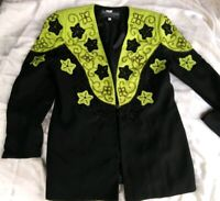 Moshita Couture Womens 12 Skirt Suit Embellished Beads Floral Lime Green Black