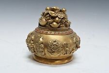 Chinese Fengshui Bronze Wealth Yuanbao Money Jeweled Pot
