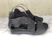 Eileen Fisher Criss Cross Black Suede Sandals Zip Back Women's Size 9