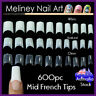 600pc Mid French Tips Fake Nail False Nails Art Acrylic Extensions Artificial