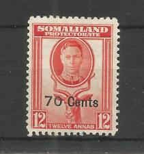 SOMALILAND PRO 1951 GEORGE 6TH 70c ON 12a RED-ORANGE SG,131 M/MINT LOT 6489A
