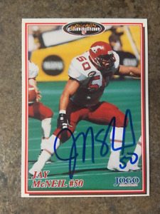 signed in person  JAY McNEIL   CFL  Calgary Stampeders  JOGO # 107   1997