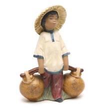 Lladro Ladro Chinese Boy Jars Hat Gres Figurine Retired 2153 Mint