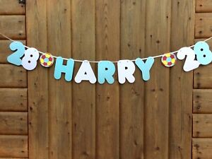 PERSONALISED MAN CITY FOOTBALL BANNER (ANY SINGLE NAME & AGE) BUNTING DECORATION