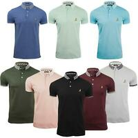 New Mens Brave Soul Ribbed Collar Casual Short Sleeve Polo T Shirt Top S M L XL