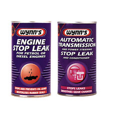 WYNNS 2 Pack ENGINE + AUTO GEAR BOX TRANS & POWER STEERING STOP LEAK ADDITIVE