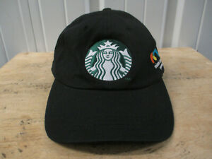 VINTAGE STARBUCKS X ITAU MIAMI TENNIS OPEN SEWN STRAPBACK HAT CAP PREOWNED