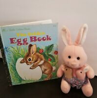 Vintage Mama Bunny Plush w/Babies & A Golden Book VTG 1998 The Golden Egg Book