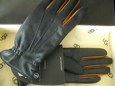 100% Authentic Women's UGG Black TWO TONE Leather Gloves Size Small/Medium